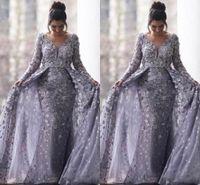 Saoudiens arabes gris musulmans robes de soirée 2020 sirène v-cou à manches longues en dentelle Tulle islamique Dubaï Robe longue soirée formelle