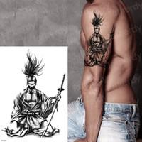 Japanische Samurai Tattoos Schwarz Skizzen Tattoo Designs Temporäre Tattoos Für Männer Arm Ärmel Schulter Temporäre Tätowierung Aufkleber SH190724
