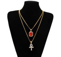 Égyptien Ankh clé de la vie bling strass Pendentif croix rouge avec Pendentif de rubis Collier Set Hommes Hip Hop Bijoux GB1266