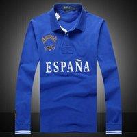 새로운 스팟 남자의 긴 소매 폴 폴로 셔츠 옷깃면 파란색 폴로 셔츠 명소 티셔츠 직접 판매 자수