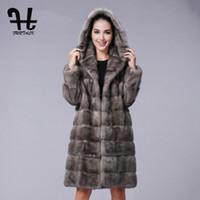 الفراء الفراء فو furtalk طويل مقنع 100٪ معطف حقيقي المرأة الشتاء سترة الطبيعية الإناث الملابس