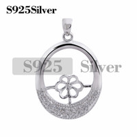Oval 925 Sterling Silver with Zircon Pendant Findings DIY Je...