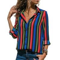 Polyester Multicolor Turn- down Collar Striped Shirt Casual L...