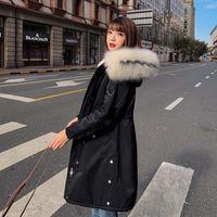 Chaqueta de invierno las mujeres de largo Parka cuello de piel delgada ocasional Mujer invierno abrigos y Puffer Outwear la chaqueta rellenada largo abrigo de las mujeres