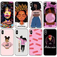 iPhone 11 Pro X XS XR Max Moda Siyah Kız Yumuşak TPU Telefon Kapak iPhone 6 6s için melanin Poppin Aba Kutuları