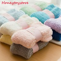 24pcs Winter Autumn Warm Fashion Casual Candy Color Womens Lady Thick Coral Fleece Slipper Short Socks Fuzzy Hosiery