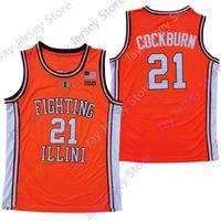 2020 Nova NCAA Illinois lutando illini jerseys 21 kofi cockburn faculdade basquete jersey laranja tamanho adulto