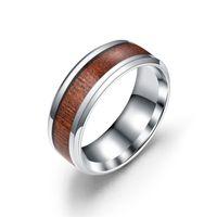 Anéis de noivado de anel de madeira de grão de aço inoxidável para mulheres homens hip hop jóias