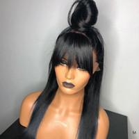 13x4 Rendas dianteiras de cabelo humano perucas de franja longa com franja Remy Brazilian 130% densidade relação média branqueada