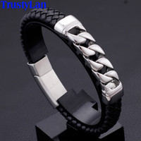 Stainless Steel Chain Link Bracelet Men 11MM Wide Braided Le...