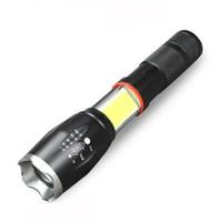 LED el feneri yan COB lamba tasarımı T6 / L2 8000 lümen Zoomable meşale 18650 pil açık hava spor lamba için 4 ışık 5 mod