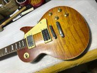 1959 Led Zeppelin Jimmy Page # 7 Tom Murphy invecchiato Heavey Relic Guitar Electric Guitar One Piece Body Neck, Pin Little Pin Bridge Bridge, Sintonizzatori in oro