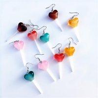 Dangle & Chandelier 1Pair Funny Heart Lollipop Earrings For Women Punk Drop Jewelry Fashion Accessories Vintage Alloy Gift
