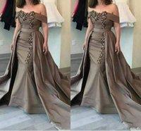 2020 Modern Kahverengi Mermaid Anne Gelin Elbiseler Kapalı Omuz Dantel Aplikler Boncuk Ile Overskirts Artı Boyutu Örgün Parti Abiye giyim