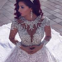 Dernière Luxe Perles À Manches Longues Robes De Mariée Musulman Avec Long Train À Paillettes De Dentelle Robes De Mariée Robe De Dinde De Mariage