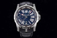 Männer Excellent Excalibur DBEX0543 TI / LE Blau TBF Asien 23J Mod TBF Fabrik blaues Zifferblatt mit römischen Volltitangehäuse Uhren