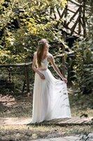Venta caliente una línea vestidos de boda de playa la plaza de longitud de Marfil blanca de gasa lila marco largo tapa del cordón de Boho de novia vestidos de boda