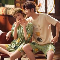 Cotton Breve Coppia Pajamas Set Estate coreano Sleepwear Pajamas Donne sveglie Notte amanti Pigiama Homewear Uomini Camicie da notte