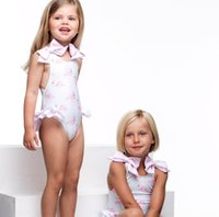 Girls pink flamingos printed swimsuits kids lace- up Bows bac...