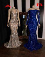 2020 Sequined Sparkly Русалка Пром платья с длинным рукавом Royal Blue Формальное Выпускные платья плюс размер вечерние платья
