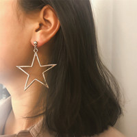 Five Pointed Star Pendant Charm Earrings For Womens Hollow O...