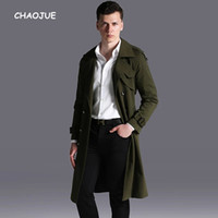 CHAOJUE Brand Extra Long Arm Green Coat Trench for Men 2018 ...