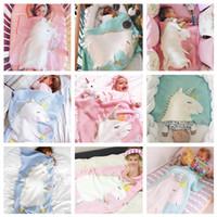 4 estilos bebés niños Unicorn Mantas Ins bebés infantiles unicornio con helado tejido de punto envolvente fotografía mantas de fondo
