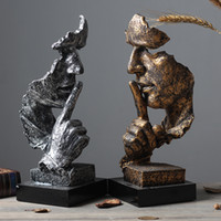 Abstrakte Skulptur Figurine Ornaments Silence Is Gold-Office Home Dekoration Zubehör Moderne Kunst-Harz-Dekoration Craft