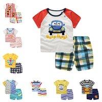 Crianças dos desenhos animados Roupa Set Meninos Meninas T-shirt Tops + Shorts roupas de verão Roupa Crianças 2 Piece Suit bonito camiseta Define Poupas 22 Projeto