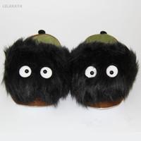 Slippers 28cm Cartoon Soft Gevulde Totoro Cat Black Carbon Women Warm Plush Personal Creative Home Floor Gemiddelde code stofschoen
