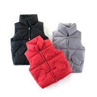 Осень Детский жилет младенца зимы куртки мальчика жилет стоять воротник пальто хлопка Дети Теплый Жилет 3 цвет