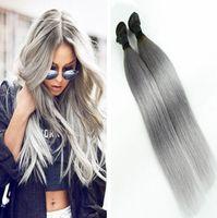Gri Ombre Düz Saç demetleri 3 Paketler İki Ton Perulu Brezilyalı Hint Virgin İnsan Saç Paketler Siyah Gri Saç Atkı