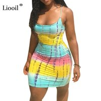 Liooil Plus Size Tie Dye Mini Dress Sexy Club Wear Summer Cl...