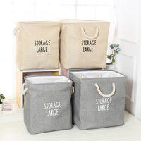 Venta al por mayor a prueba de agua de lavandería cestas de almacenamiento caja plegable portátil de lino de algodón bolsa de almacenamiento plegable de tela de juguete merienda caja de almacenamiento DBC DH0656-2