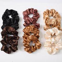Kadın Saten / Kadife Scrunchie Streç At Kuyruğu Tutucular Elastik Hairbands Katı Renk Bayanlar Saç Halatlar Saç Bağları Aksesuarları