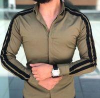 Hommes Casual Shirts Hommes Blouse Tops mâle manches longues à manches longues robe fit robe blanche rouge noir