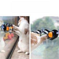 새로운 크리 에이 티브 디자인 흡입 홈 창턱 고양이 장난감 플라스틱 탁구 애완 동물 장난감 트랙 장난감 공을 흡착 유리