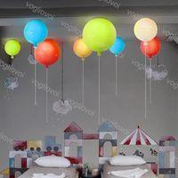 Lâmpadas pendentes E27 20 cm Branco amarelo amarelo balão acrílico candelabro linha cordão para jardim de infância quarto infantil loja de roupas de roupa DHL