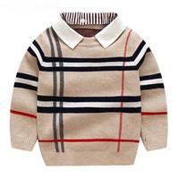 Осень теплые шерстяные мальчики свитер плед дети трикотажные мальчики хлопок пуловер свитер 2-7Y детская мода верхняя одежда