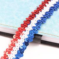 22 cour / lot 30mm Largeur dentelle ceinture 3 couleur correspondant Paillettes Dentelle Ruban élastique perles garniture tissu de Danse Robe BRICOLAGE À Coudre Accessoires