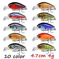 10pcs / sürü 10 Renkler Karışık 3D Gözler Krank Plastik Sabit yemler Yemler 4.7cm 4g 10 # Balıkçılık Kancalar BL_22