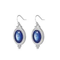 3 accoppiamenti / lotto nuovi ovale blu del Topaz della pietra preziosa d'argento di goccia di nozze ciondola Hook gioielli orecchini