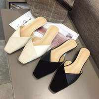 Mini2019 Fine Square Low con boca baja Sandalias Baotou Nothing Heel Half Slipper Woman Muller Shoe