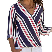 Women Multicolor Striped Shirt Fashion V- Neck Long Sleeve Ca...