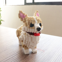 Мелкие частицы строительных блоков головоломки сборки детские игрушки животных милый золотистый ретривер Тедди собака корги собака дар
