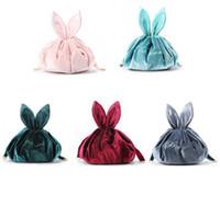 Preguiçoso Cosmetic saco de veludo Coelho maquiagem sacos de cordão Wash Bolsa Mulheres corda Coelho bolsas Makeup Organizer Armazenamento Bolsas GGA3201