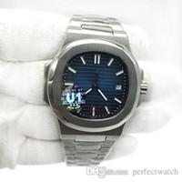 2019 Nuevo reloj para hombre Dial azul Transparente Volver U1 Movimiento de fábrica Grabado Nautilus Reloj mecánico automático de acero inoxidable
