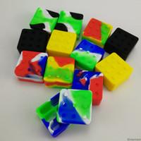 Square 4 + 1 antiadherente Titular de silicona de grado alimenticio del envase 25ML goma tarros Dab herramienta de almacenamiento de petróleo Cera de contenedores para Dabber vaporizador de Vape
