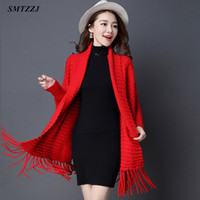 SMTZZJ Autumn winter Oversized Coat Open Stitch Cardigans Sweater 2019  Women Female Red Grey Knitted Jacket Tops