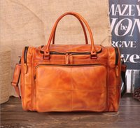 Vegetable tanned leather retro large- capacity luggage bag le...